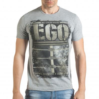 Сива мъжка тениска с голям бежов принт Just Relax 4