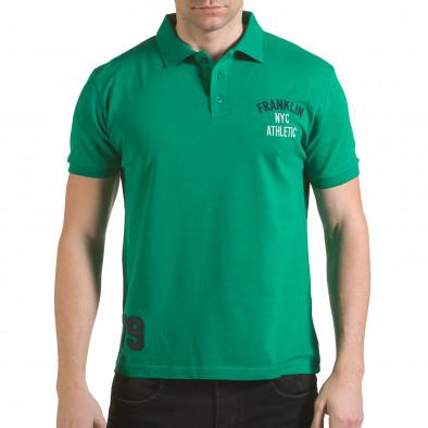 Мъжка зелена тениска с яка с надпис Franklin NYC Athletic il170216-32 2