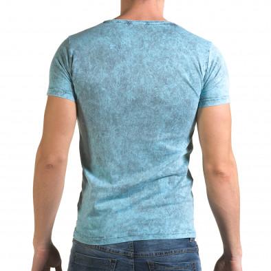 Мъжка синя тениска с надпис Follow il120216-15 3