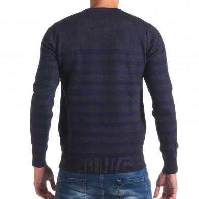 Мъжки синьо-сив пуловер със сини райета it170816-34 3