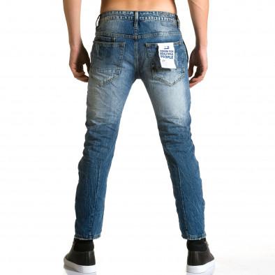 Мъжки светло сини дънки с малки карирани кръпки ca190116-11 3