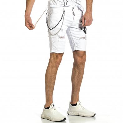 Destroyed бели къси дънки с гумиран принт gr270421-27 4