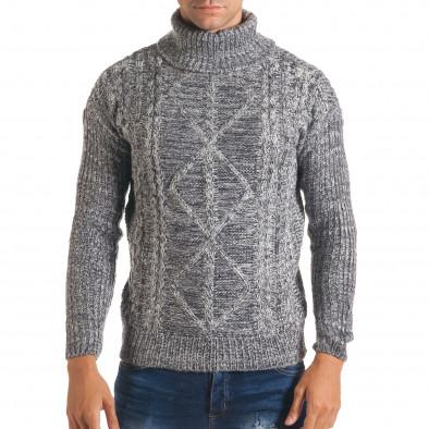 Мъжки синьо-бял зимен пуловер с поло яка it170816-26 2