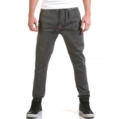 Мъжки светло сив панталон с контрастен ластик it090216-29 2