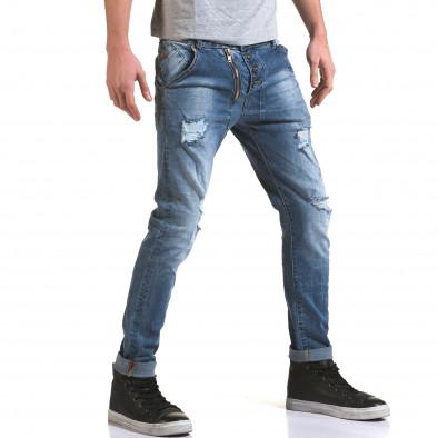 Мъжки светло сини дънки с декоративен цип отпред it090216-4 4
