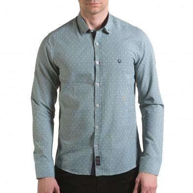 Мъжка зелена риза на фини квадратчета с лого il170216-107 2