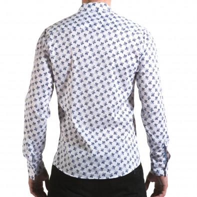 Мъжка бяла риза с флорален принт Buqra 5