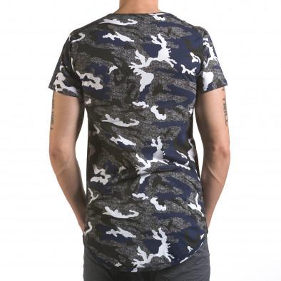 Мъжка тениска сиво-син камуфлаж Uniplay 4