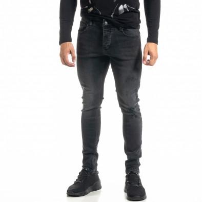 Мъжки черни дънки с леки прокъсвания tr020920-11 2