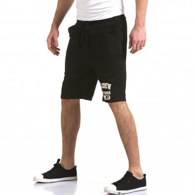 Мъжки черни шорти с надпис it230216-3 4