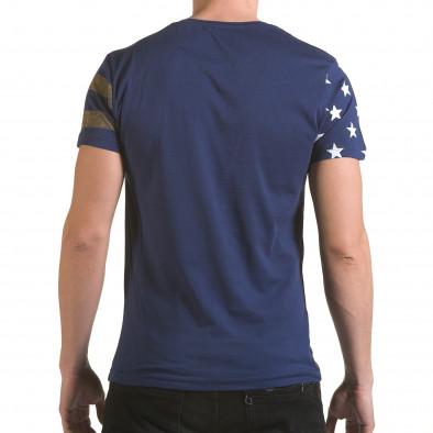 Мъжка синя тениска с жълти ленти il170216-10 3