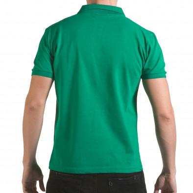 Мъжка зелена тениска с яка с надпис Franklin NYC Athletic il170216-32 3