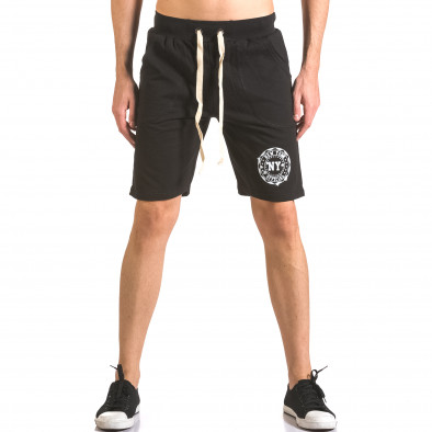 Мъжки черни шорти за спорт с малък принт ca050416-44 2
