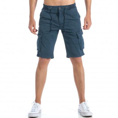 14bd3998bb6 Мъжки сини къси панталони с джобове на крачолите it190417-47 2 ...