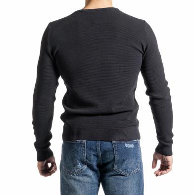 Памучен пуловер пике цвят графит tr231220-5 3