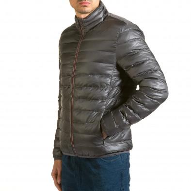 Мъжко сиво яке с черна подплата it110915-2 4