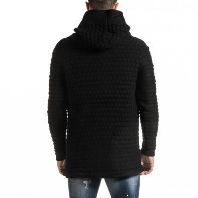 Структурирана черна жилетка с качулка  it301020-29 4