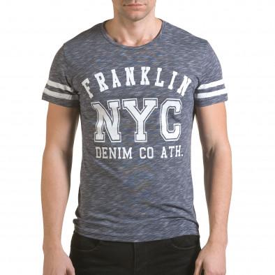 Мъжка синя тениска NYC Franklin 4