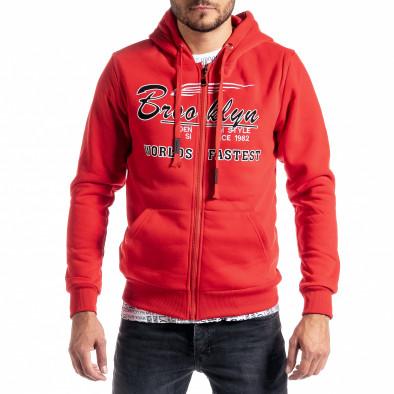 Мъжки червен суичър с цип Brooklyn it300920-43 2