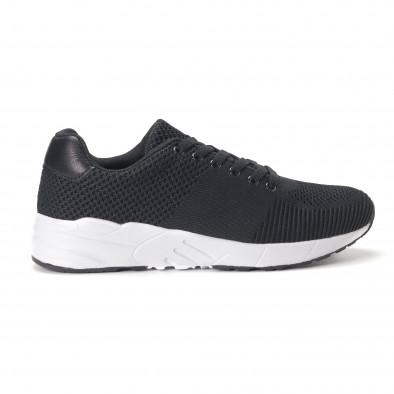 Леки мъжки маратонки от черен релефен текстил it020618-21 2