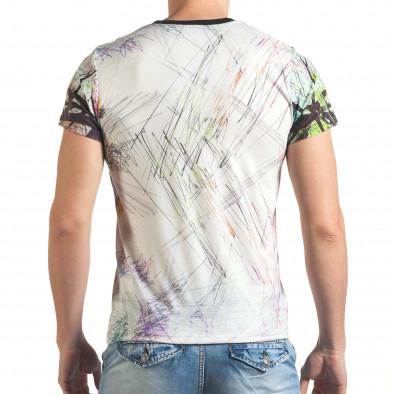 Мъжка бяла тениска с шарен череп отпред tsf140416-70 3