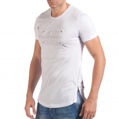 Мъжка бяла тениска с релефен надпис Young Eksi 5