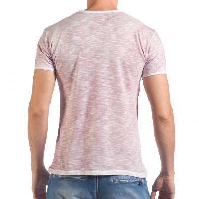 Мъжка розова тениска с принт и надпис Inner City View il060616-41 3