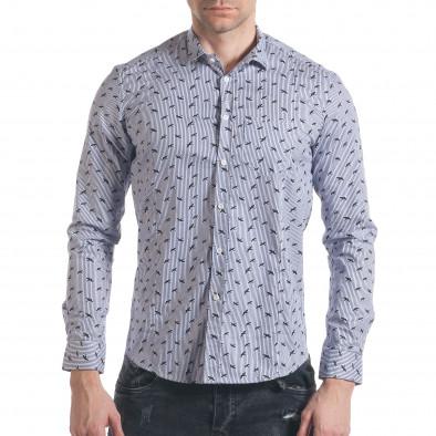 Мъжка синьо-бяла раирана риза с птички it140317-2 2