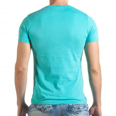 Светло синя тениска с лятна картинка Just Relax 4