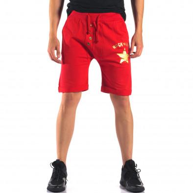 Мъжки червени шорти със златна звезда it160616-14 2