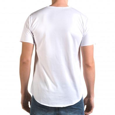 Мъжка бяла издължена тениска с принт звезди Man 4