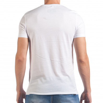 Мъжка бяла тениска с принт кецове il060616-8 3