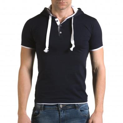Мъжка синя тениска с качулка il120216-59 2