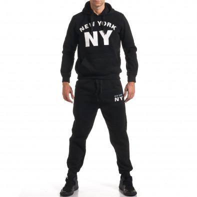 Мъжки черен спортен комплект с надпис it160916-57 2