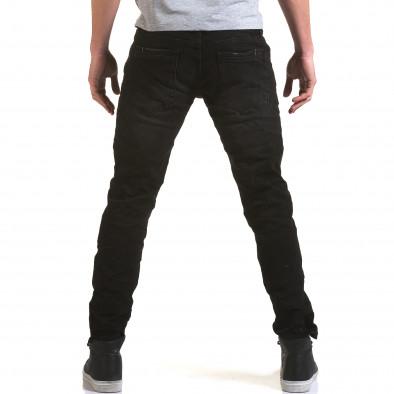 Мъжки черни дънки с прокъсвания на коленете it090216-23 3