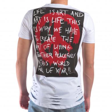 Мъжка бяла тениска със скъсвания и хипарски принт il210616-25 3