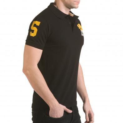 Мъжка черна тениска с яка с релефен надпис Super FRK il170216-25 4