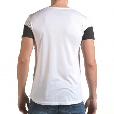 Мъжка бяла тениска с тъмно сива лента il170216-74 3