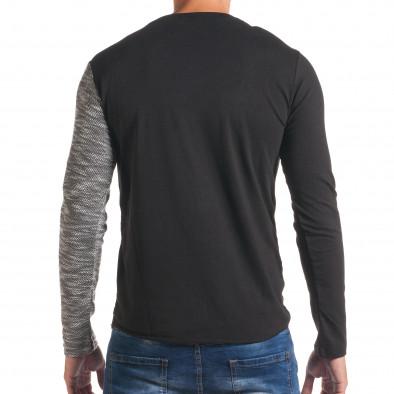 Мъжка черна блуза със светло сива част и цип it180816-9 3