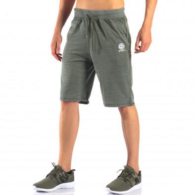 Зелени мъжки шорти с леко избелял ефект it160616-2 4