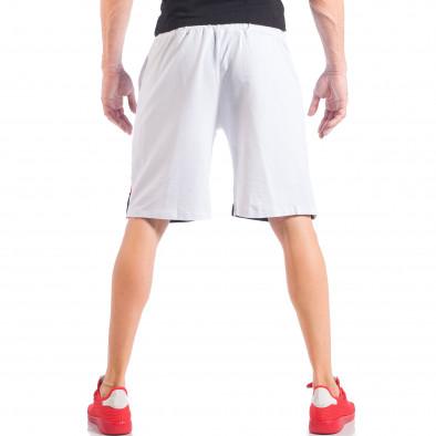 Бели мъжки шорти с ивици и метална звезда it050618-43 3
