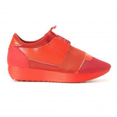 Дамски червени маратонки олекотен модел it200917-51 2