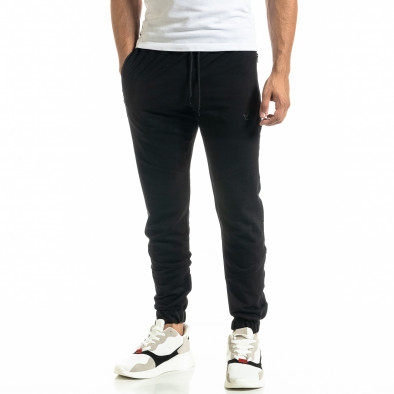 Мъжко черно долнище с ципове на джобовете tr020920-4 2