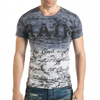 Синя преливаща тениска с надписи Lagos 4