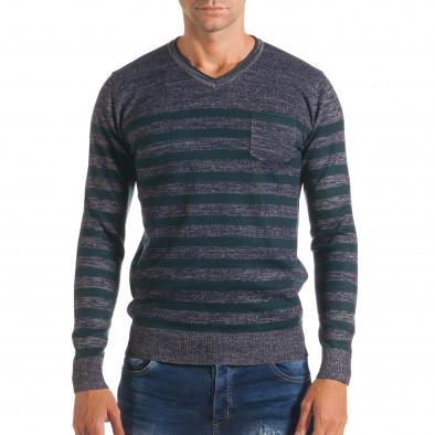 Мъжки синьо-сив пуловер със зелени райета it170816-36 2