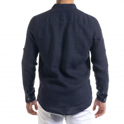 Ленена мъжка риза в тъмно синьо tr110320-93 4