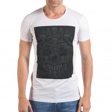 Мъжка бяла тениска с черепи отпред il060616-78 2