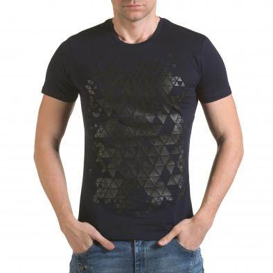 Мъжка синя тениска с фигуралнен принт il170216-55 2