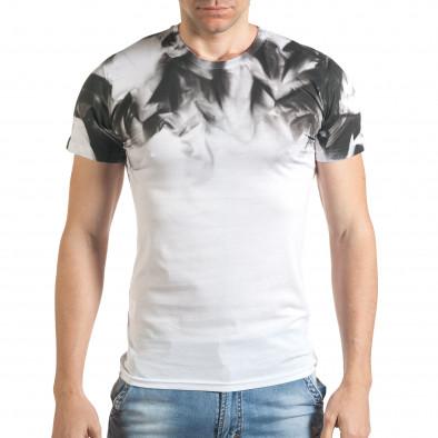 Бяла мъжка тениска с принт на раменете tsf140416-73 2