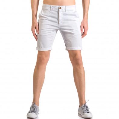Бели мъжки къси панталони с италиански джобове ca050416-62 2